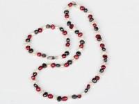 Súprava náhrdelník a náramok 6-7 mm biele, červené a čierne riečne perly