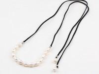Náhrdelník riečne perly na čiernej šnúrke