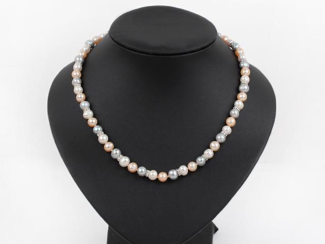 Náhrdelník biele, fialové a ružové riečne perly