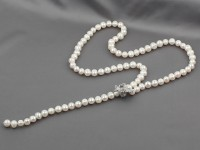 Náhrdelník biele riečne perly v tvare Y