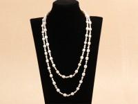Dvojprameňový náhrdelník biele riečne perly