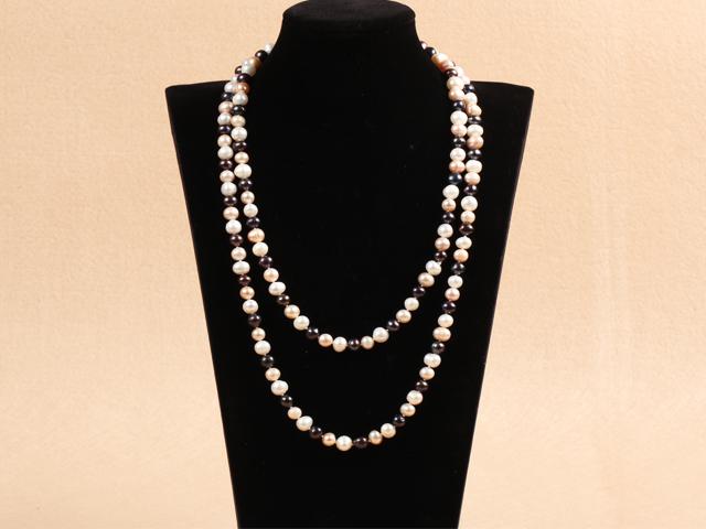 Dvojprameňový náhrdelník biele, ružové a čierne riečne perly 8-9mm II