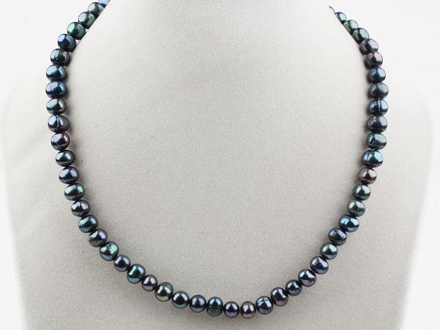 Náhrdelník 8-9mm čierne riečne perly