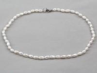 Náhrdelník 3-4mm riečne perly v tvare ryže
