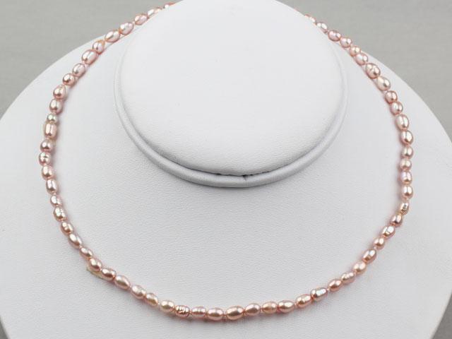 Náhrdelník 3-4 mm fialové riečne perly