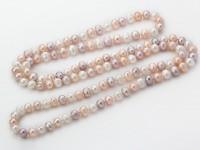 Náhrdelník 9-10mm biele, ružové a fialové riečne perly - 120 cm