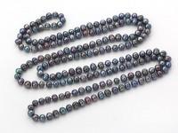 Náhrdelník 8-9mm čierne riečne perly - 160 cm