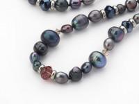 Náhrdelník čierne riečne perly a krištáľ