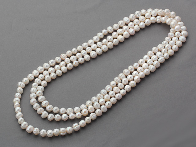 Náhrdelník 8-9mm biele riečne perly - 160 cm