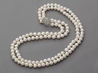 Dvojprameňový náhrdelník 6-7mm biele riečne perly