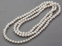Náhrdelník 10-11mm biele riečne perly - 160 cm