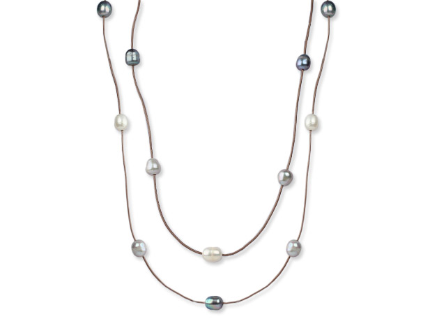 Náhrdelník 11-12mm čierne, sivé a biele riečne perly - 120 cm