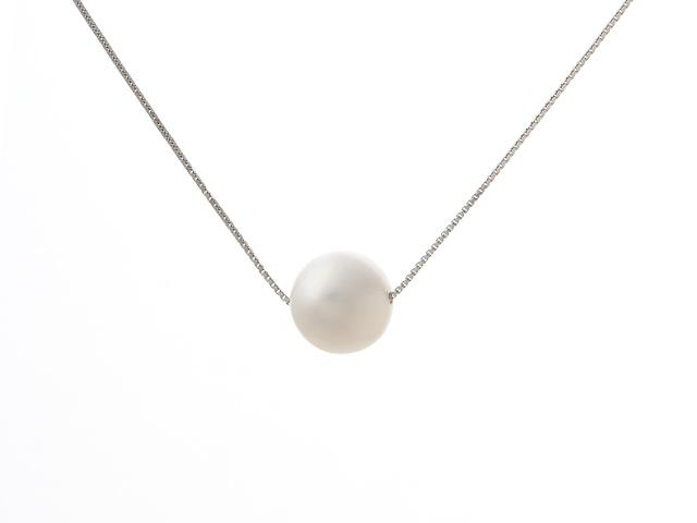Náhrdelník - strieborná retiazka Ag925 a 11mm biela riečna perla