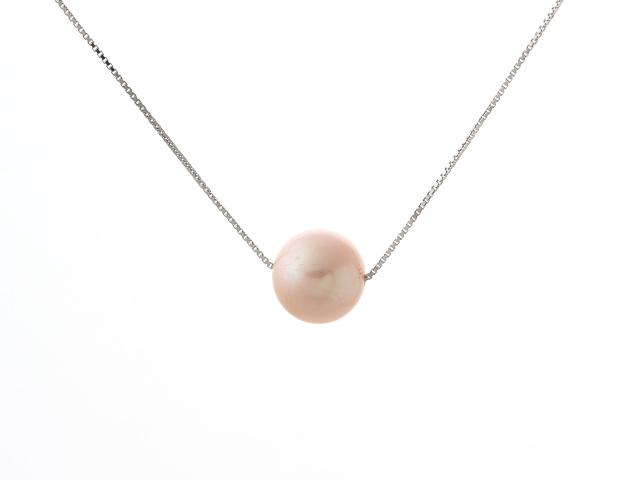 Náhrdelník - strieborná retiazka Ag925 a 11mm ružová riečna perla