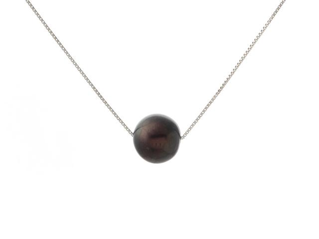 Náhrdelník - strieborná retiazka Ag925 a 11mm čierna riečna perla