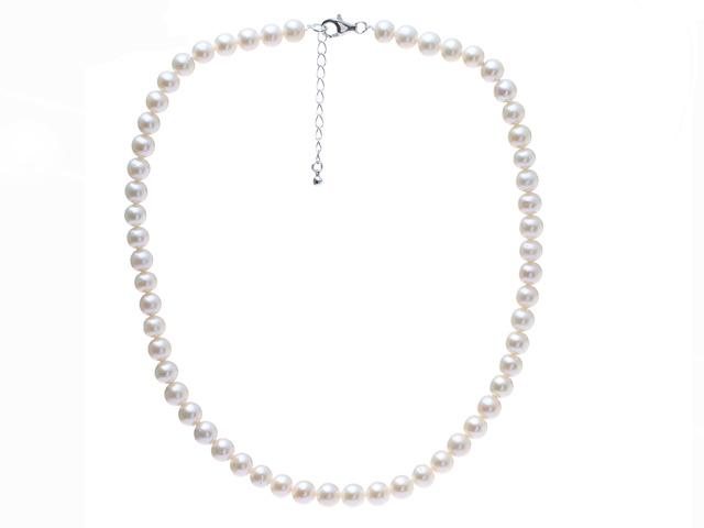 Náhrdelník 7,5-8mm biele riečne perly - A kvalita + Ag925 zapínanie