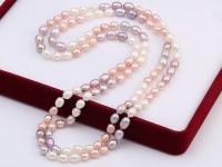 Náhrdelník 6-7mm biele, ružové a fialové riečne perly - 110cm