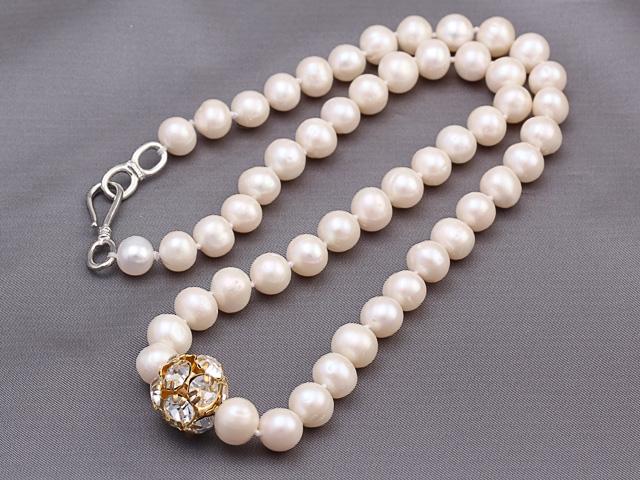 Náhrdelník biele riečne perly a krištáľ