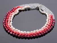 Viacprameňový náhrdelník biele a ružové riečne perly a krištáľ