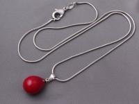 Náhrdelník červená shell perla a hadia retiazka