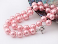 Náhrdelník 10mm ružové shell perly