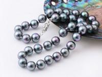 Náhrdelník 10mm čierne shell perly