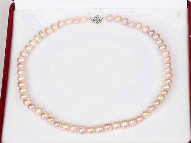 Náhrdelník 8-9mm ružové  riečne perly