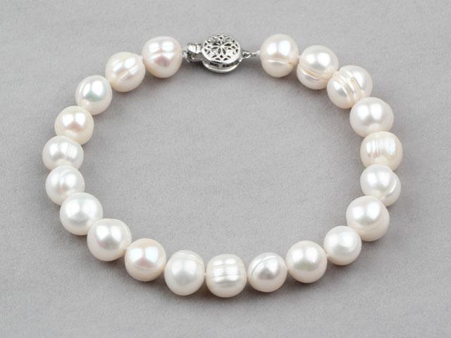 Náramok biele 9-10mm riečne perly