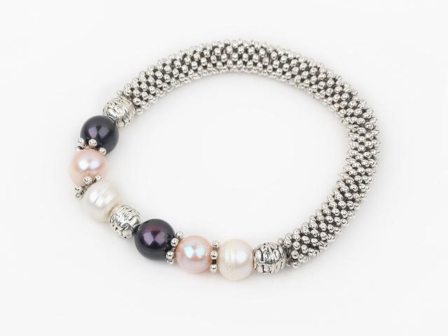 Náramok biele, ružové a čierne riečne perly