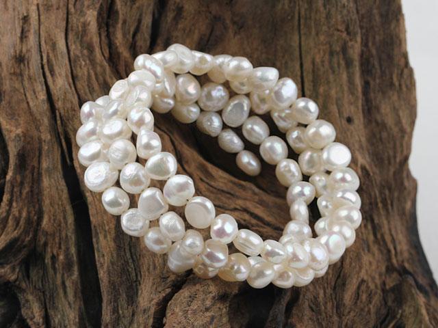 Viacradový náramok biele riečne perly