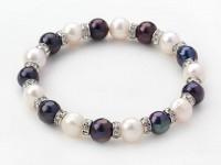Náramok biele a čierne riečne perly a krištáľ