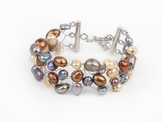 Široký náramok viacfarebné riečne perly