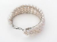 Štovrradový náramok biele riečne perly