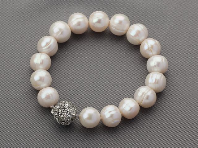 Náramok 10-11mm biele riečne perly a krištáľ