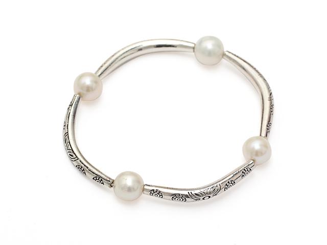 Náramok biele riečne perly - A kvalita