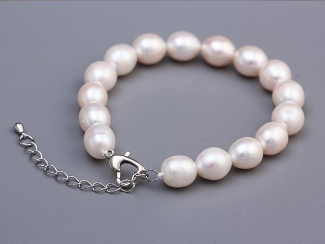 Náramok biele riečne perly 9-10mm
