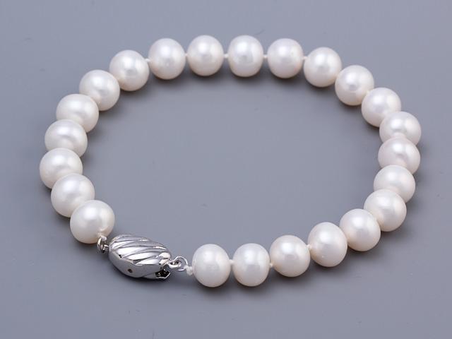 Náramok biele riečne perly 8-9mm
