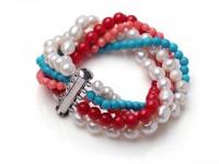 Viacprameňový náramok biele riečne perly, červený koral a tyrkenit