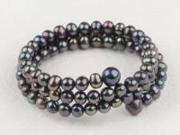 Viacradový náramok čierne riečne perly