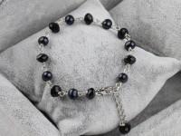 Náramok čierne riečne perly a krištáľ