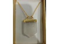 Náhrdelník krištáľ opracovaný - zlatý