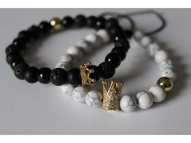 Set náramkov - Queen and King - onyx, lávový kameň, biely tyrkys