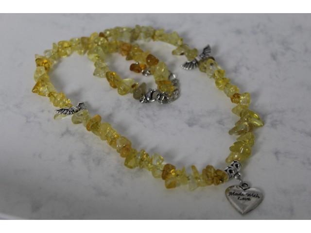 Sekaný náhrdelník - citrín s krídlami a srdiečkom