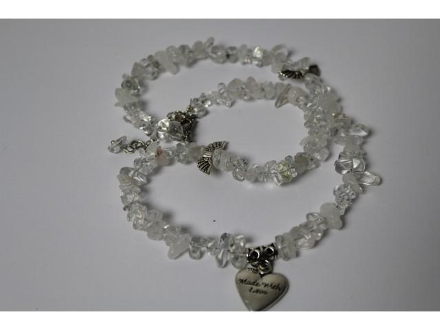 Sekaný náhrdelník - krištáľ s krídlami a srdiečkom