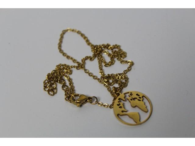 Oceľový náhrdelník - world zlatý