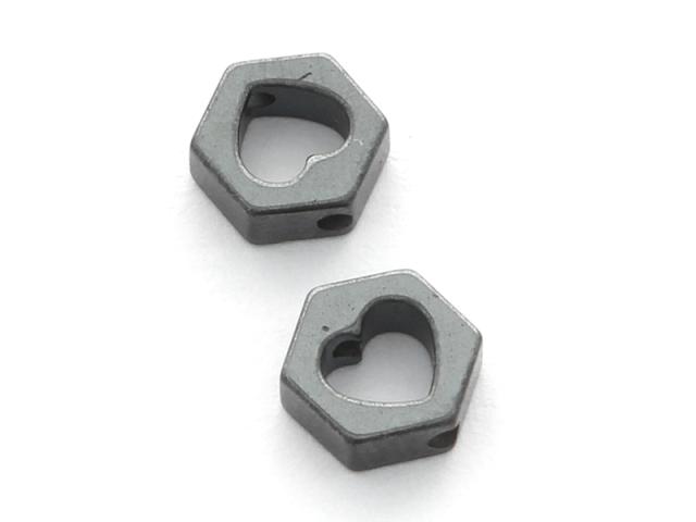 Hematit hexagon a srdiečko 7x6x2,5mm