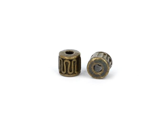Kovová korálka - stĺpik - starobronzová