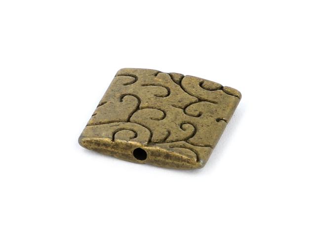 Kovová korálka - štvorec - starobronzová