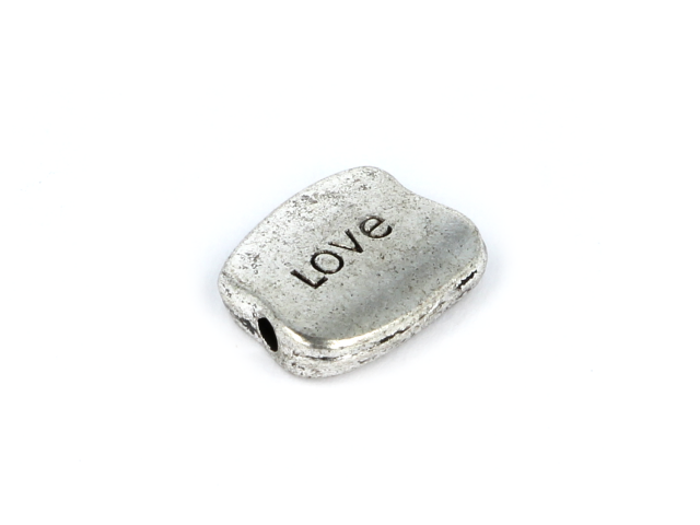 Kovová korálka s nápisom LOVE - starostrieborná