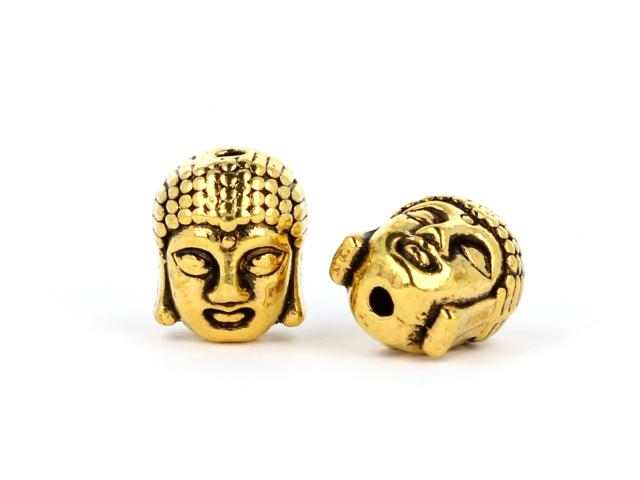 Kovová korálka - hlava Buddhu - starozlatá